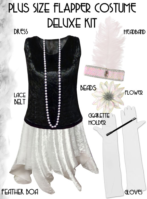 SOLD OUT! Plus Size Roaring 20\'s Black & White Flapper ...