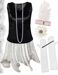 FINAL CLEARANCE SALE! Plus Size Roaring 20's Black & White Flapper Costume -  Plus Size & Supersize 4x 7x