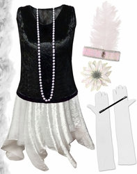 CLEARANCE! Plus Size Roaring 20's Black & White Flapper Costume -  Plus Size & Supersize 4x 7x