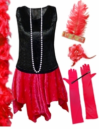 CLEARANCE! Plus Size Roaring 20's Flapper Costume Black & Red Halloween Costume Kit Plus Size & Supersize 9x