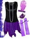 CLEARANCE! Plus Size Roaring 20's Purple & Black Flapper Halloween Costume - Plus Size & Supersize 8x