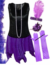 FINAL CLEARANCE SALE! Plus Size Roaring 20's Purple & Black Flapper Halloween Costume - Plus Size & Supersize 8x