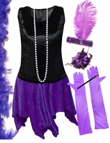 CLEARANCE! Plus Size Roaring 20's Purple & Black Flapper Halloween Costume - Plus Size & Supersize 1x 5x 6x 7x 8x
