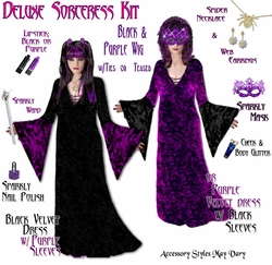 SALE! Plus Size Black & Purple Sorceress Costume + Accessory Kit! Lg XL 1x 2x 3x 4x 5x 6x 7x 8x 9x