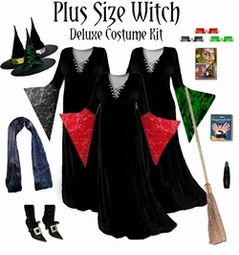 SOLD OUT! CLEARANCE! Plus Size Supersize Witch Costume Black, Red, Purple or Green - And Accessories! 2xT 3x 4x 5x 6xT