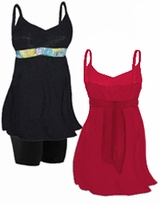 CLEARANCE! MANY COLORS! Plus Size Swim Tank with Shelf Bra & Tie Optional Plus Size Swim Bottoms and Different Color Ties! 0x 1x
