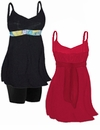 FINAL CLEARANCE SALE! MANY COLORS! Plus Size Empire Waist Babydoll Swim Tank Tops 0x 1x