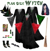 SALE! Plus Size Witch Costume Black, Red or Green - And Accessories! Plus Size & Supersize Lg XL 1x 2x 3x 4x 5x 6x 7x 8x 9x