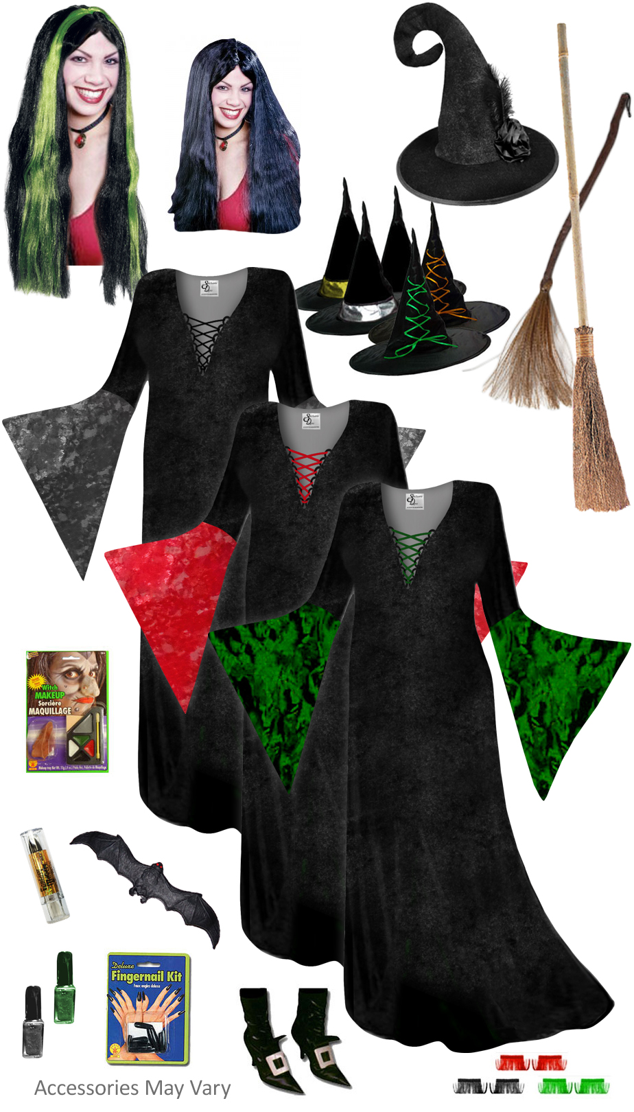 SALE! Plus Size Witch Costume Black, Red or Green - And ...