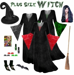 Plus Size Witch Costume Black Red or Green - And Accessories! Plus & Plus Size Costumes