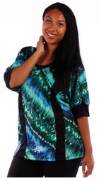 SOLD OUT! Pretty Aqua & Blue Diagonal Abstract Plus Size Slinky Shirts 5x