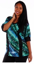 SALE! Pretty Aqua & Blue Diagonal Abstract Plus Size Slinky Shirts 5x