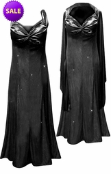 SOLD OUT! Pretty Black Glittery Satin 2 Piece Plus Size SuperSize Princess Seam Dress Set