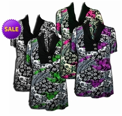 SALE! Pretty Black - Purple - Gray - Green - Fucshia Pink Slinky Print Plus Size Tops! 4x 5x 6x