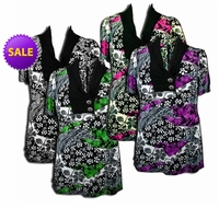 SALE! Pretty Black - Purple - Gray - Green - Fucshia Pink Slinky Print Plus Size Tops! 4x