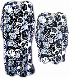 SOLD OUT! Pretty Black & White Floral Poly/Satin Plus Size & Supersize Caftan Dress or Shirt 1x to 6x