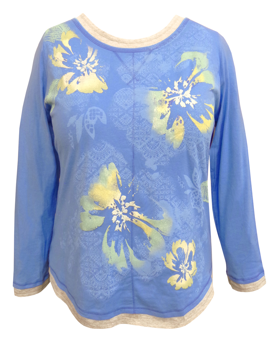 Sale Blue Floral Glittery Long Sleeve Plus Size Shirt 1x