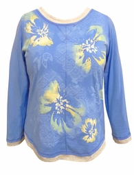 SALE! Blue Floral Glittery Long Sleeve Plus Size Shirt 2x