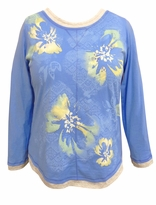SALE! Blue Floral Glittery Long Sleeve Plus Size Shirt 1x 2x