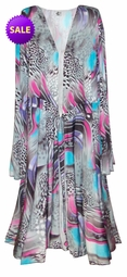 SOLD OUT! SALE! Pretty Blue Pink Black White Slinky Print Plus Size Slinky Duster Jacket 6x