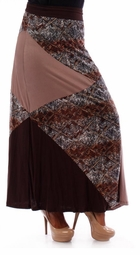 SOLD OUT! Pretty Brown & Mocha Color Block Plus Size Maxi Skirt