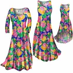 SOLD OUT! Pretty Colorful Floral Slinky Print Plus Size & Supersize Dress 1X