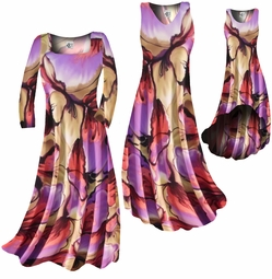 SOLD OUT! FINAL SALE! Pretty Colorful Floraly Print Slinky Plus Size & Supersize Standard Dress 0x 3x