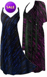 CLEARANCE! 2-Piece Pretty Fuchsia or Blue Streaks Glittery Slinky Plus Size & SuperSize Princess Seam Dress Set 1x