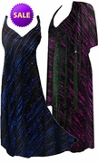 SOLD OUT! CLEARANCE! 2-Piece Pretty Fuchsia or Blue Streaks Glittery Slinky Plus Size & SuperSize Princess Seam Dress Set 1x