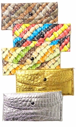FINAL CLEARANCE SALE! Pretty Glossy Embossed Shiny Metallic Gold Wallets!