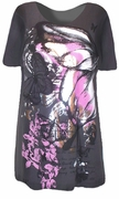 SOLD OUT! SALE! Just Reduced!  Pretty Gray & Pink Butterfly Glittery Plus Size T-Shirts 1X