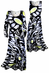SOLD OUT! SALE! Pretty Lightweight Black White & Yellow Slinky Plus Size & Supersize A-Line Dresses & Jackets 0x