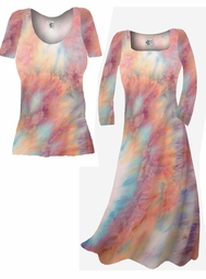 SOLD OUT! SALE! Pretty Peach & Light Blue Tye Dye Colorful Print Slinky Plus Size & Supersize Dresses & Shirts 0x 2x