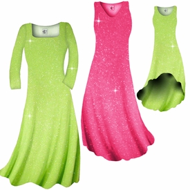 SALE! Pretty Pink or Lime Green Sparkle Glimmer Slinky Plus Size ...