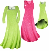 FINAL SALE! Pretty Pink or Lime Green Sparkle Glimmer Slinky Plus Size & Supersize Shirts & Pants 1x 2x