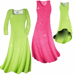 SOLD OUT! Pretty Pink or Lime Green Sparkle Glimmer Slinky Plus Size & Supersize Shirts & Pants