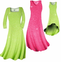 SOLD OUT! Pretty Pink or Lime Green Sparkle Glimmer Slinky Plus Size & Supersize Shirts & Dresses