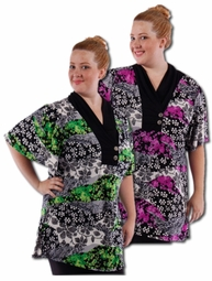 SOLD OUT! Pretty Purple - Green Slinky Print Plus Size Tops! 4x 5x 6x