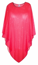 Sparking Red Sheer Plus Size Supersize Poncho