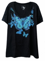 SALE! Pretty Sparkly Black Butterfly T-Shirt 26/28w 4x