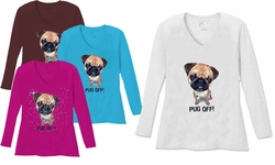 SALE! Pug Off V Neck / Round Neck Long Sleeve Plus Size Shirt White Teal Raspberry Brown Teal Lime Wine 4x 5x