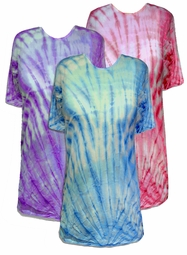 SALE! Gravity Swirl Purple or Blue Long Plus Size Tie Dye T-Shirt XL 2x 3x 4x 5x 6x