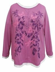 SALE! Purple Butterflies Glittery Long Sleeve Plus Size Shirt 2x