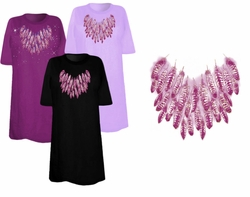 SOLD OUT! SALE! Purple Feathers Neckline Plus Size & Supersize T-Shirts 3xl