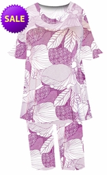 SOLD OUT! SALE! Purple Flower Outline Print 2-Piece Pants Set Customizable Plus Size & Supersize Top & Pant Lounge Set 4xT