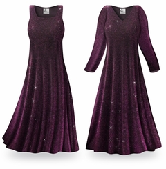 FINAL CLEARANCE SALE! Purple Glimmer Plus Size & Supersize Standard or Cascading A-Line or Princess Cut Slinky Print Dresses 0x