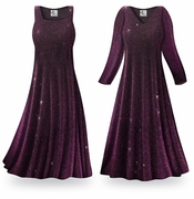 CLEARANCE! Purple Glimmer Plus Size & Supersize Standard or Cascading A-Line or Princess Cut Slinky Print Dresses XL 0x