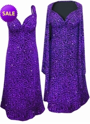 SOLD OUT! SALE! 2-Piece Black Slinky w/ Purple Glitter Leopard - Plus Size & SuperSize Princess Seam Dress Set 2x