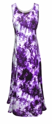 SOLD OUT! CLEARANCE! Purple & Lavender Tie Dye Cotton Plus Size & SuperSize Princess Cut Tank Dress 1x