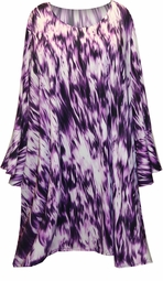 SOLD OUT! FINAL SALE! Purple Lines Plus Size Supersize Bell Poncho Sleeves Tunic Top 6x